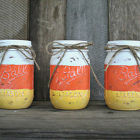 Home and Holiday Decor-Painted, Distressed Mason Jar, Vase, Organization, Rustic, Fall and Halloween Decor, Candy Corn Mason Jar, Fall Decor