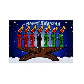 Kwanzaa Candle Kinara with Snow And Greeting Lawn Sign