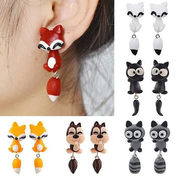 Bluelans Women's Polymer Clay Animal Earrings Cute Cartoon Cat Ear Studs Earbobs Jewelry