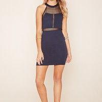 Mesh-Paneled Mini Dress