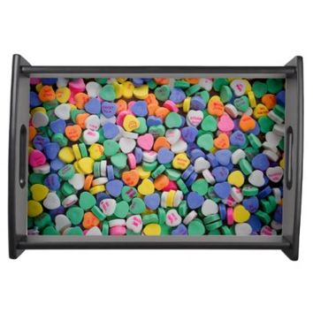 Colorful Candy Hearts Serving Tray