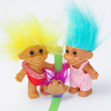 Vintage Toy 1992 Ross Troll Dolls With A 1992 Vintage Troll Digital Wrist Watch