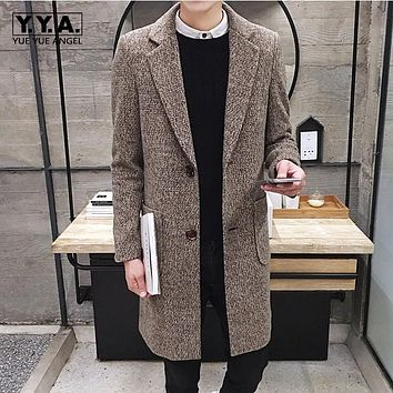 Winter Fashion Mens Long Jacket Trench Casual Business Wool Coat Warm Lapel Collar Sobretudo Korean Straight Slim Fit Overcoat