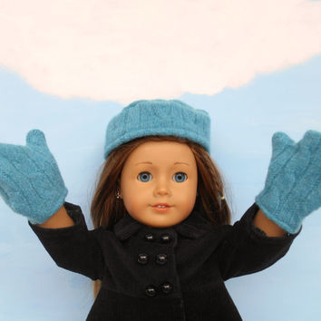 18 Inch Doll Hat and Mittens, Wool Blend Hat and Mittens, Teal Hat and Mittens fits American Girl Dolls, Winter Doll Clothes, Upcycled
