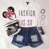 casual, cute, converse, minnie mouse, high waisted shorts - inspiring picture on Favim.com