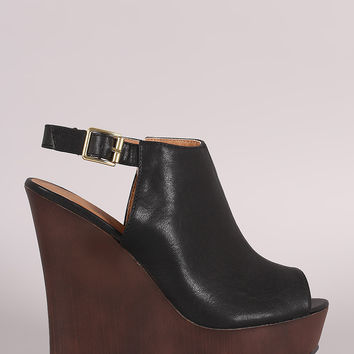 Qupid Peep Toe Platform Mule Wedge