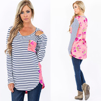 Spring Forward - Floral and Striped Top - Pink - RESTOCK