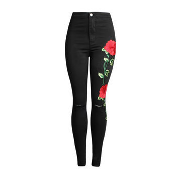 Ripped Pencil Stretch Vintage Embroider Flowers Jeans