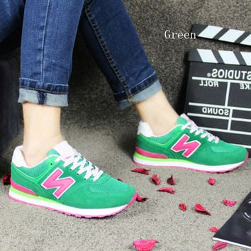 """New balance""Running shoes leisure shoes gump sneakers lovers shoes n words green"