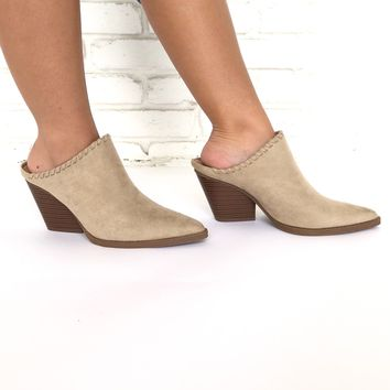 Get To The Point Slip On Heels In Light Taupe