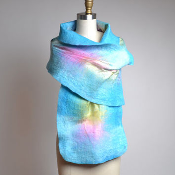 Nuno Felted Scarf - Rainbow Felted Scarf - Merino Wool Felted Scarf - Merino Wool Silk Scarf - Spring Scarf - Gift for Her