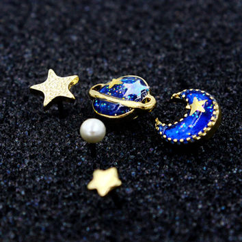 Blue Star Moon And Planet Rhinestone Earring