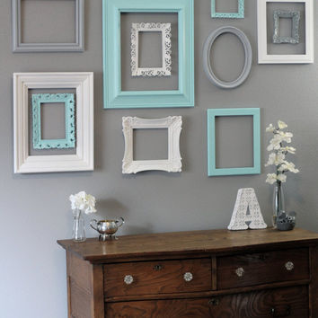 Shabby Chic Decor / 11 Piece Upcycled Distressed Custom Picture Frame Set / Hawthorne Collection