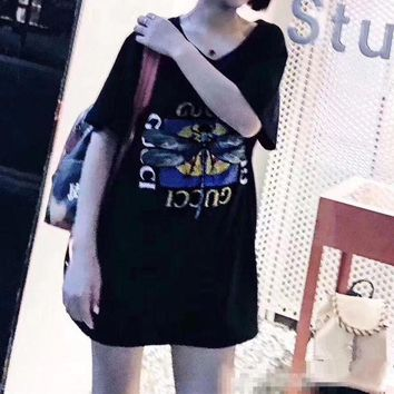 CUPCUPST Gucci' Women Casual Fashion Butterfly Letter Pattern Print Dragonfly Embroidery Short Sleeve T-shirt Tops Tee