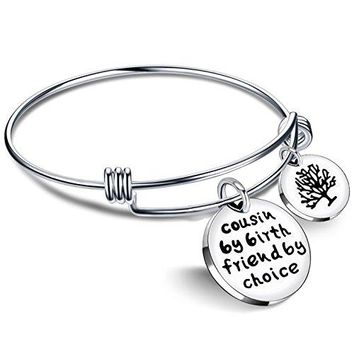 AUGUAU Cousin BBF Bangle Bracelets Best Friend Tree of life Pendant Gift - Cousin by birth friends by choice