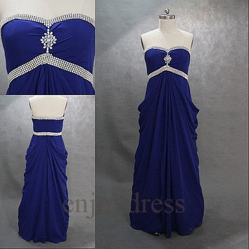 Custom Royal Blue Beaded Long Prom Dresses Bridemaid Dresses 2014 Formal Party Dresses Wedding Party Dress Evening Dresses Evening Gowns
