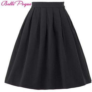 Women Fashion jupe Summer High Waist Plus Size Elastic Vintage Pleated Skirts Black Red