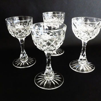 4 Crystal Wine Coupes, Cut Crystal Vintage Stemware, White Wine Glasses, Barware, Wedding Gift, Cocktail, Martini, Cut Glasses