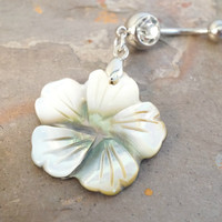 Mother Of Pearl Hibiscus Flower Belly Button Ring Jewelry