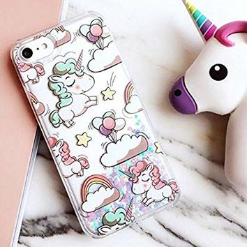 iPhone 6/6S Case,Blingy's New Cool Flowing Liquid Glitter Style Plastic Hard Case for Apple iPhone 6/6S (Cartoon Unicorn)