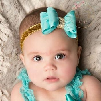 Newborn Luxe Hair Bows Matching Glitter Headband Handmade Hard Bow Headbands For Baby Girls Hair Accessories 8colors to choose [8833430476]