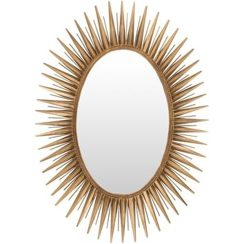Oval Sunburst Gold Decorative Mirror