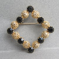 Juliana D&E Vintage Black Rhinestone Gold Filigree Ball Square Pin