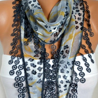 ON SALE - 50% OFF - Gray Leopard Scarf - Cotton Scarf - Shawl - Cowl with Lace Edge - fatwoman