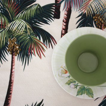 ivory palm tree barkcloth placemats