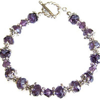 Purple and Silver Beaded Bracelet