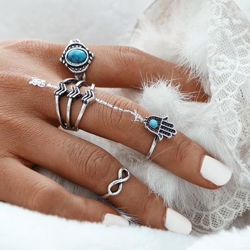 17KM Vintage Fatima Hamsa Hand Ring Sets For Women Fashion Turkish Silver Color Synthetic Stone Infinity Midi Rings for Women