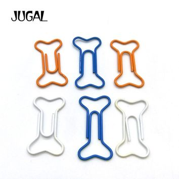24pcs/Lot Bone Shape Paper Clips Pin Metal Clip Bookmarks Storage Office Accessories Cute Bow Paper clips Tin Box Packing JUGAL