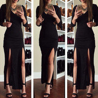Black Long Sleeve Double Side Slit Bodycon Maxi Dress with Mesh Accent