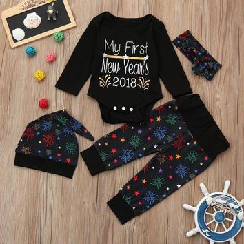 My First New Year 2018 Newborn Baby Boy Girl Clothes Long Sleeve Cotton Romper Tops+Long Pant Hat Outfits Kids 3pcs Clothing Set