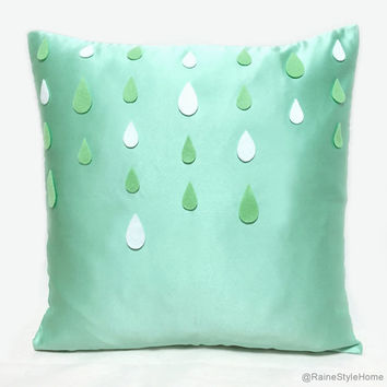 Mint Summer Rain Decorative Pillow Cover. Rainy Day Cushion Cover. Modern Throw Pillow. Housewarming Gift