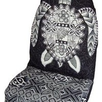 Hawaiian Car Seat Covers with Separated Headrest, Gray Big Turtle, Set of 2 Front Bucket Seat Covers, Made in Hawaii