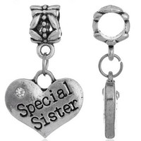 8Years Mixed Silver Tone Clear White CZ Crystal Rhinestone Heart Love Dangle Charms Beads Engraved With Black Words Special Sister European Charms fits Pandora Charm Bracelet 27x16mm
