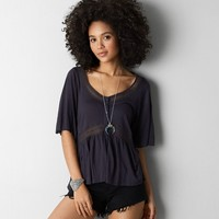 AEO LACE TRIM BUTTON TOP