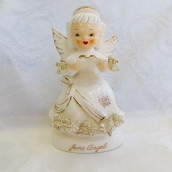 Vintage Angel Figurine, June Angel, June Bride, 1950s Bridal Figurine  June Wedding Decor