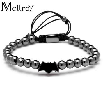 Batman Dark Knight gift Christmas Mcllroy Pulseira 6mm Round Titanium Beads Batman Charms Bracelet Braiding Bracelet For Party For Party Gift Bracelets Men Women AT_71_6