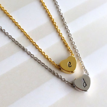 Initial Necklace, Bridesmaid Gift, Dainty Necklace, Mom Sister Grandma Gift, Heart Necklace, Best Friend Gift