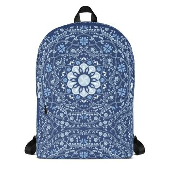 Blue Mandala in Blue Backpack