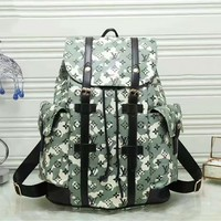 LV Louis Vuitton Fashion New Army Green Print Backpack Bookbag Travel Bag Shoulder Bag I-LLBPFSH