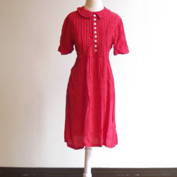 Collared Red Dress, Red Dress, Nice Dress, Red Polka Dot Dress