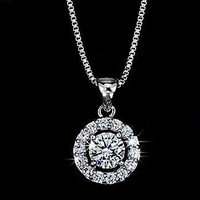 0.6 Carat Arrow Cut AAA+ CZ Simulated Diamond Pendant Necklace Round