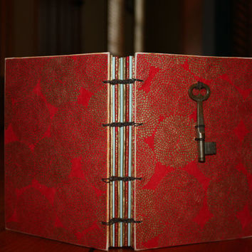 Red Mum Journal with Vintage Skeleton Key, Easter Gift, Wedding Guest Book, Hostess Gift, Unique Birthday Gift, Writing Gift