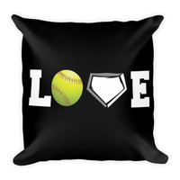 "Softball Pillow 18"" Square - Love Softball Black"