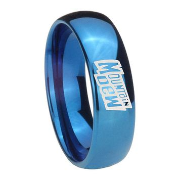 8MM Glossy Blue Dome Mountain Dew Tungsten Carbide Laser Engraved Ring