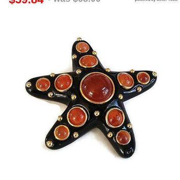 SALE KJL Kenneth Lane Signed Black Enamel & Carnelian Glass Cabochons Starfish Brooch Vintage