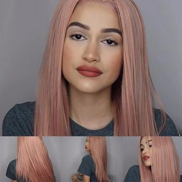 Pink Long Straight Synthetic Wigs For Women, Heat Resistant Cosplay Hair Wig Pink/28inches
